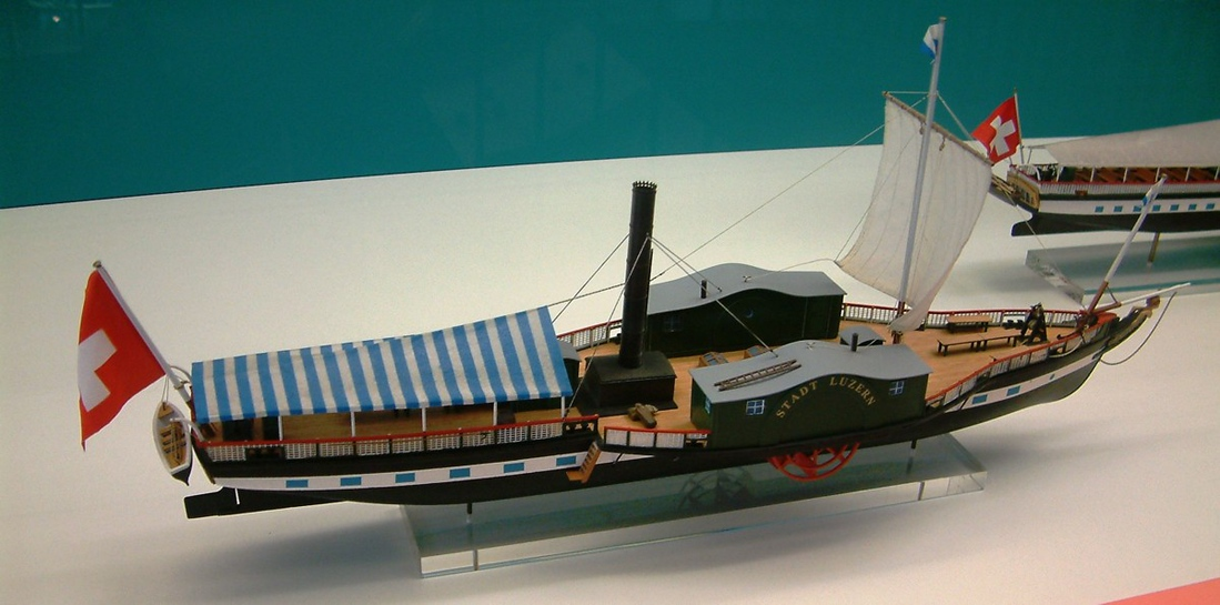 Model of first of three paddle steamers to be named Stadt Luzern, the first steamship on the Lake of Lucerne (1837 - 1872). Her hull survived - much modified - until recent times as the bilge tank cleaning vessel Beibo