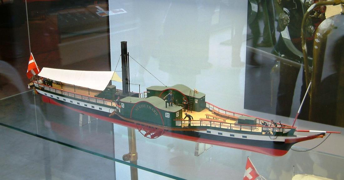 Model of Lake Lucerne paddle steamer St Gotthard (1843 - 1872 - hull remains in service